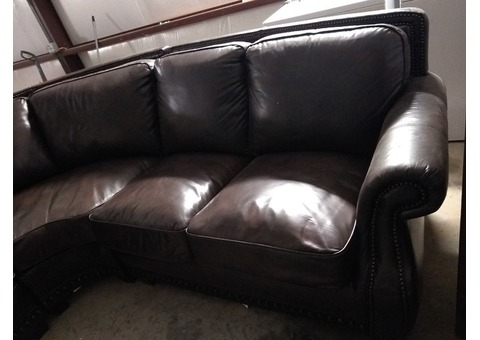 Leather sectional couch & ottoman