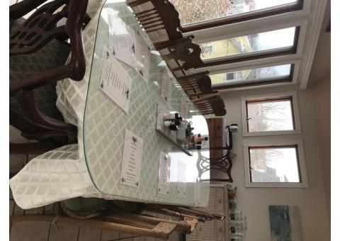 Extra Long Dining Table with Glass Top