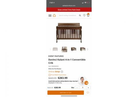 Convertible crib w/mattress and dresser/changing table