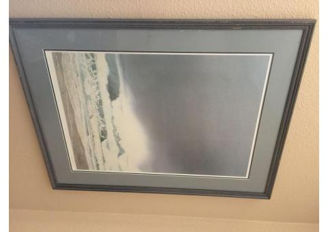 Jeffrey Hull -  Print is titled Pacific Storm. It's a lithograph print from1991. The A.P. signifies